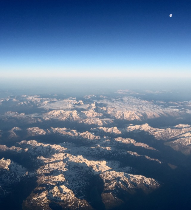 Moonset over Alps